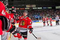 KELOWNA, CANADA - JANUARY 28: Skyler McKenzie #43 of the Portland Winterhawks high fives the bench after scoring a goal against the Kelowna Rockets on January 28, 2017 at Prospera Place in Kelowna, British Columbia, Canada.  (Photo by Marissa Baecker/Shoot the Breeze)  *** Local Caption ***
