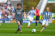 Caglar Soyuncu of Leicester City (4) in action during the Premier League match between Huddersfield Town and Leicester City at the John Smiths Stadium, Huddersfield, England on 6 April 2019.