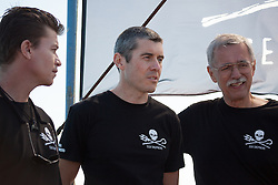 Beck Straussner, marine scientist, Jeff Hansen, Sea Shepherd director and philanthropist Phillip Wollen on board the Steve Irwin during Operation Kimberley Miinimbi near James Price Point.