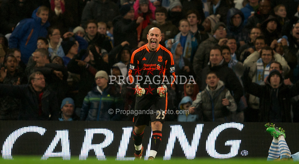 MANCHESTER, ENGLAND - Wednesday, January 11, 2012: Liverpool's goalkeeper Jose Reina in action against Manchester City during the Football League Cup Semi-Final 1st Leg at the City of Manchester Stadium. (Pic by David Rawcliffe/Propaganda)