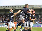 Dundee's Gary Harkins is congratulated after scoring by Greg Stewart, Simon Ferry and Paul McGowan - Dundee v Kilmarnock - SPFL Premiership at Dens Park<br /> <br />  - &copy; David Young - www.davidyoungphoto.co.uk - email: davidyoungphoto@gmail.com