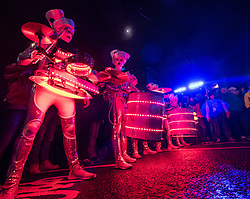 Edinburgh, Scotland, United Kingdom. 31 December 2017. Spark! LED Drummers perform on Princes Street during Drum Off with all female drumming group during annual New Year of Hogmanay celebrations in the city.