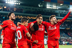 18.05.2016, St. Jakob Park, Basel, SUI, UEFA EL, FC Liverpool vs Sevilla FC, Finale, im Bild Torjubel Liverpool nach dem 1:0 durch Daniel Sturridge (FC Liverpool), Adam Lallana (FC Liverpool), Coutinho (FC Liverpool), Emre Can (FC Liverpool), Roberto Firmino (FC Liverpool) // Goal Celebration after Daniel Sturridge (FC Liverpool) scores the opening Goal Adam Lallana (FC Liverpool) Coutinho (FC Liverpool) Emre Can (FC Liverpool) Roberto Firmino (FC Liverpool) during the Final Match of the UEFA Europaleague between FC Liverpool and Sevilla FC at the St. Jakob Park in Basel, Switzerland on 2016/05/18. EXPA Pictures © 2016, PhotoCredit: EXPA/ JFK
