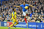 Anton Walkes (2) of Portsmouth intercepts the ball to take it  away from Andy Barcham (17) of AFC Wimbledon during the EFL Sky Bet League 1 match between Portsmouth and AFC Wimbledon at Fratton Park, Portsmouth, England on 1 January 2019.