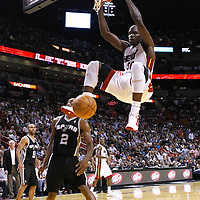 17 January 2012: Miami Heat center Joel Anthony (50) dunks the ball during the Miami Heat 120-98 victory over the San Antonio Spurs at the AmericanAirlines Arena, Miami, Florida, USA.