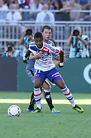 FOOTBALL - FRENCH CHAMPIONSHIP 2012/2013 - L1 - OLYMPIQUE LYONNAIS v AC AJACCIO - 16/09/2012 - PHOTO EDDY LEMAISTRE / DPPI - MICHEL BASTOS (OL) AND SAMUEL BOUHOURS  (ACA)