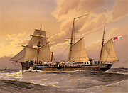 HMS Thrush,  1st class British gunboat.  Illustration by William Frederick Mitchell. Lithograph. 1892.