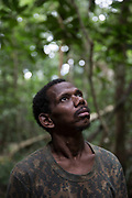 A Maniq man called Yaaw stands in the forest listening for sounds of life.<br /> <br /> Evidence suggests that the Maniq, a Negrito tribe of hunters and gatherers, have inhabited the Malay Peninsula for around 25,000 years. Today a population of approximately 350 maniq remain, marooned on a forest covered mountain range in Southern Thailand. Whilst some have left their traditional life forming small villages, the majority still live the way they have for millennia, moving around the forest following food sources. <br /> <br /> Quiet and reclusive they are little known even in Thailand itself but due to rapid deforestation they are finding it harder to survive on the forest alone and are slowly being forced to move to its peripheries closer to Thai communities.