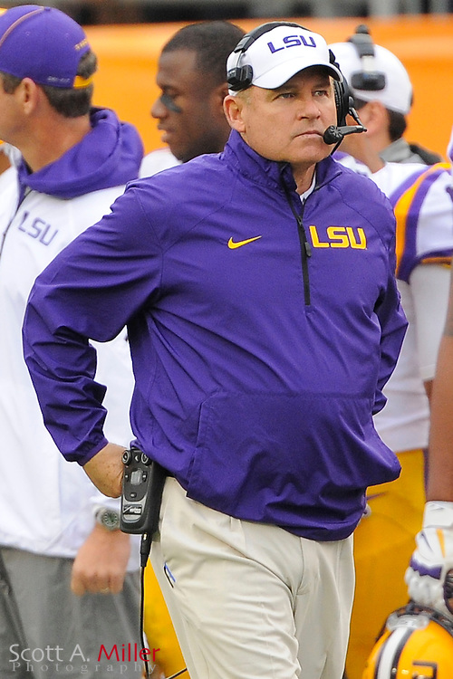 LSU Tigers head coach Les Miles during LSU's 21-14 win over the Iowa Hawkeyes in the 2014 Outback Bowl at Raymond James Stadium on Jan 1, 2014  in Tampa, Florida.            ©2014 Scott A. Miller