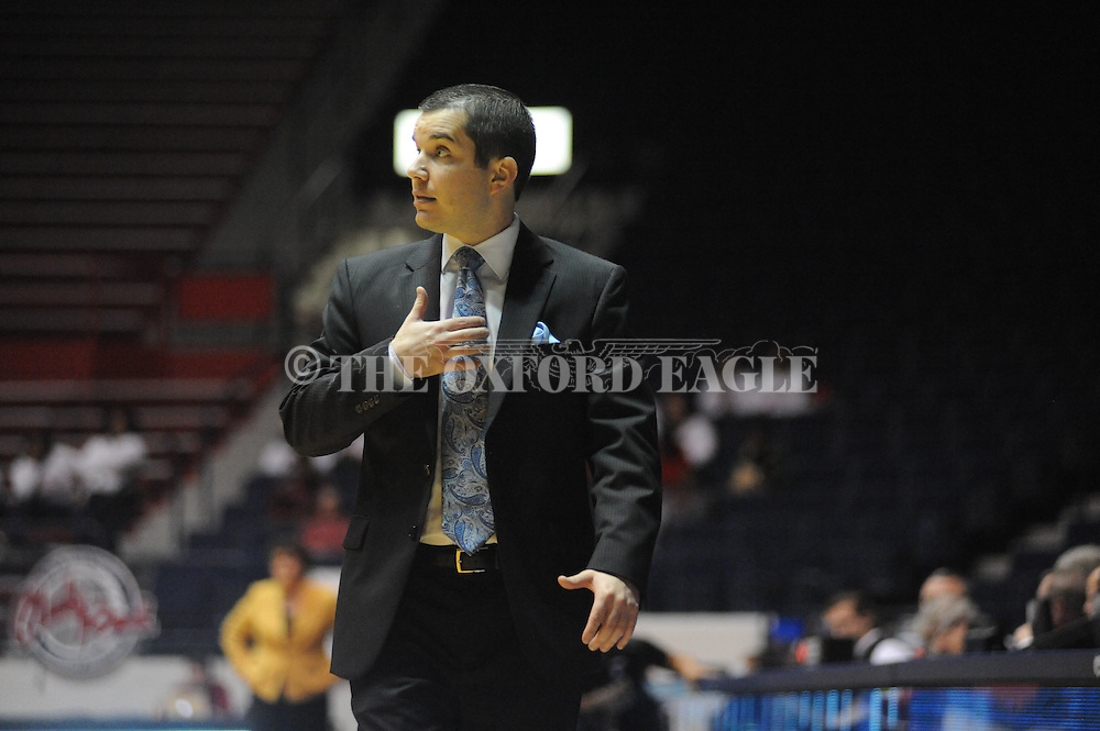 "Ole Miss Lady Rebels head coach Matt Insell vs. Southern Mississippi at the C.M. ""Tad"" Smith Coliseum in Oxford, Miss. on Thursday, December 18, 2014. (AP Photo/Oxford Eagle, Bruce Newman)"