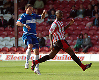 Photo: Tony Oudot.<br /> Brentford v Stockport County. Coca Cola League 2. 29/09/2007.<br /> Anthony Elding of Stockport scores his third goal past Adrian Pettigrew of Brentford