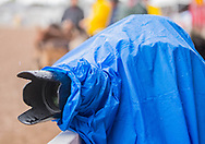 The rain made things difficult for photographers during the finals at Cheyenne Frontier Days on Sunday, July 30, 2017.