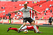 Connor Franklin of Brackley Town (3) and Frankie Sutherland of Bromley FC (21) battle for the ball during the FA Trophy match between Brackley Town and Bromley at Wembley Stadium, London, England on 20 May 2018. Picture by Stephen Wright.