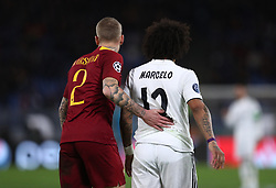 November 27, 2018 - Rome, Italy - AS Roma v FC Real Madrid : UEFA Champions League Group G.Rick Karsdrop of Roma and Marcelo of Real Madrid at Olimpico Stadium in Rome, Italy on November 27, 2018. (Credit Image: © Matteo Ciambelli/NurPhoto via ZUMA Press)