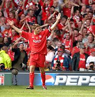 Photo: Daniel Hambury.<br />Liverpool v West Ham United. The FA Cup Final. 13/05/2006.<br />Liverpool's Steven Gerrard celebreates his goal.