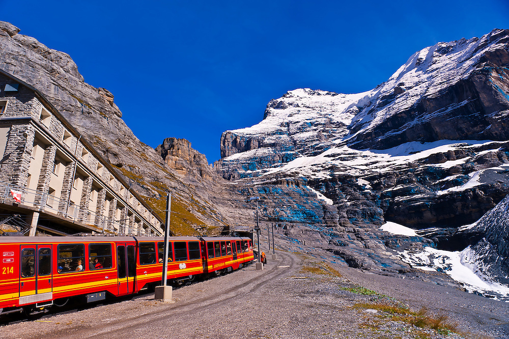 Jungfrau Railway train at Eigergletscher, Swiss Alps, Canton Bern, Switzerland
