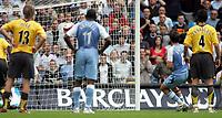 Photo: Paul Thomas.<br /> Manchester City v Arsenal. The Barclays Premiership. 26/08/2006.<br /> <br /> Joey Barton (8) scores for Man City.