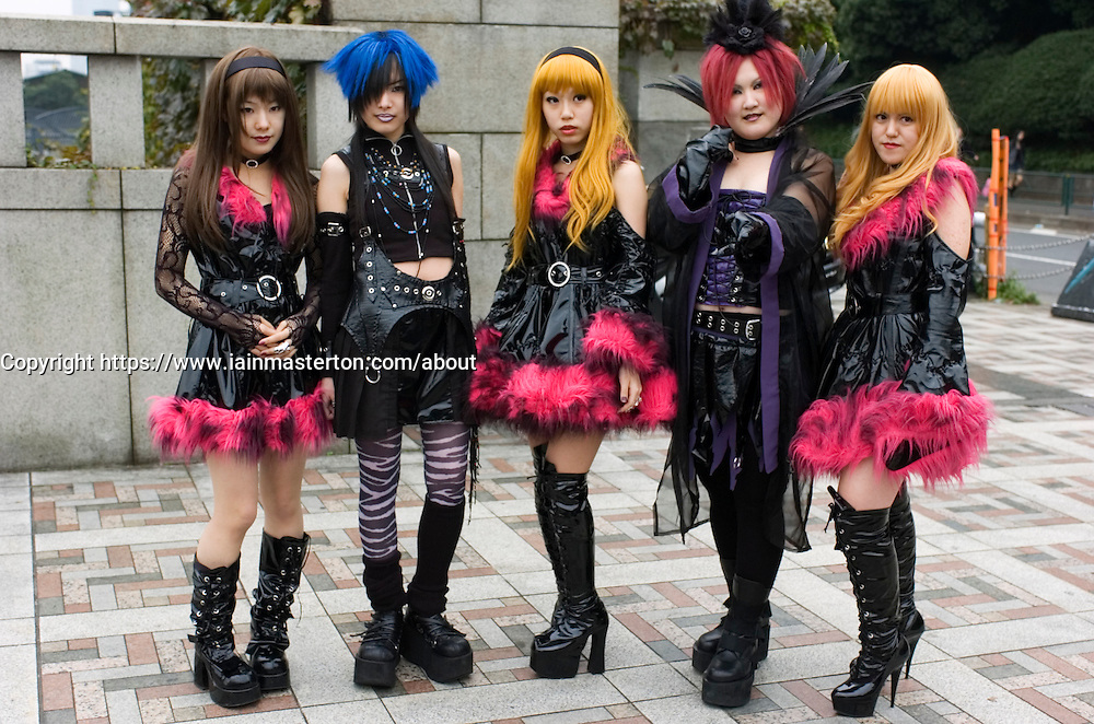 Young girls dressed as cosplay goths  at Harajuku in central Tokyo Japan