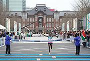 Dickson Chumba  (KEN) celebrates after winning in 2:05:30 in the Tokyo Marathon in Tokyo, Sunday, Feb. 25, 2018. (Jiro Mochizuki/Image of Sport)