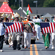 Marchers in colorful native costumes participate  Inaugural India Day Parade Saturday. August. 18, 2012. in Hockessin Delaware...Indian's around the world celebrates india's 65th anniversary of india's independence from British rule and the country's birth as a sovereign nation on August 15, 1947.