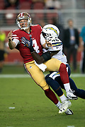 Los Angeles Chargers defensive end Chris Landrum (46) sacks San Francisco 49ers quarterback Nick Mullens (4) and causes a fumble recovered by the Chargers at the 49ers 13 yard line during the 2018 NFL preseason week 4 football game against the San Francisco 49ers on Thursday, Aug. 30, 2018 in Santa Clara, Calif. The Chargers won the game 23-21. (©Paul Anthony Spinelli)