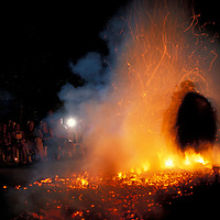 Asia, Indonesia, Bali, Traditional Balinese fire dance performance in Ubud.