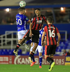 Stephen Gleeson of Birmingham City wins a header from Lys Mousset of Bournemouth - Mandatory by-line: Paul Roberts/JMP - 22/08/2017 - FOOTBALL - St Andrew's Stadium - Birmingham, England - Birmingham City v Bournemouth - Carabao Cup