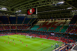 CARDIFF, WALES - Thursday, October 11, 2018: Wales players during the pre-match warm-up before the International Friendly match between Wales and Spain at the Principality Stadium. (Pic by Laura Malkin/Propaganda)