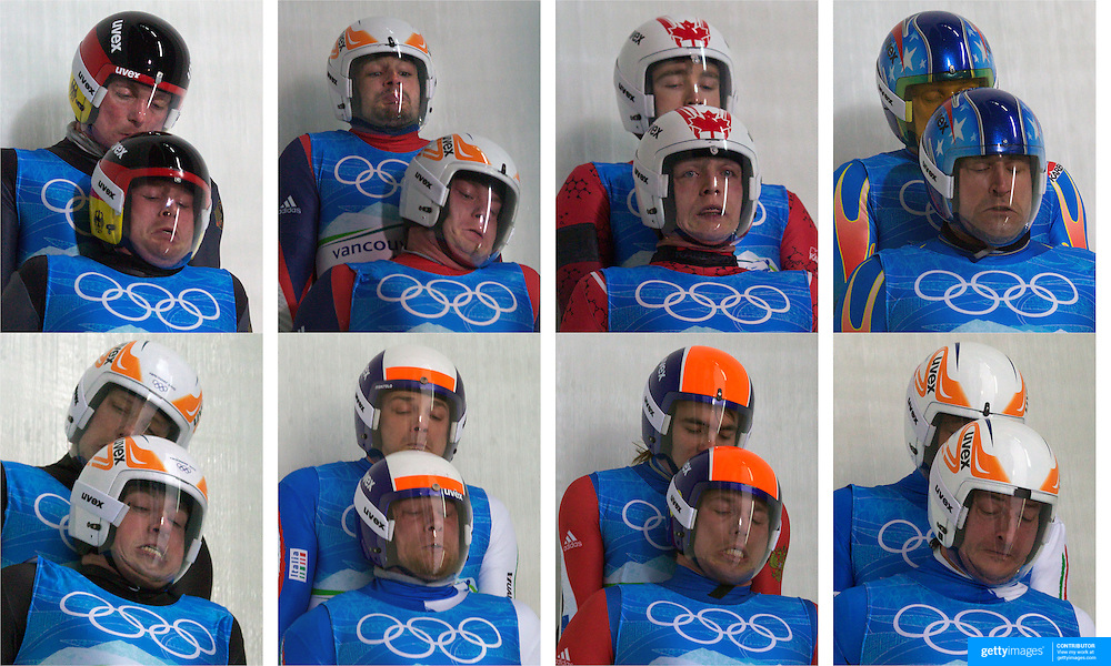 The Luge Brothers..Closeness in sport is often found in team environments. But no sport has a closeness like the Luge doubles where one partner is laying on top of the other while trust and teamwork are paramount for survival. The twenty team Luge doubles competition at the Winter Olympics in Vancouver includes three sets of brothers and a pair of cousins emphasizing the need for closeness. These expressions of the athletes are caught on bend sixteen where the luge is traveling often in excess of 130 Km an hour. ...Top left to right, Patric Leitner and Alexander Tesch, Germany, Jan Harnis and Branislav Regec, Slovakia, Chris Moffat and Mike Moffat, Canada, Mark Grimmette and Brian Martin, USA,  Bottom left to right, Andris Sics, Juris Sics, Latvia, Christian Oberstolz and Patrick Gruber, Italy, Michail Kuzmich and Stanislav Mikheev, Russia, Gerhard Plankensteiner and Oswald Haselrieder, Italy. ..The Whistler Sliding Centre, Whistler, Vancouver Winter Olympics. 160210 Photos Tim Clayton
