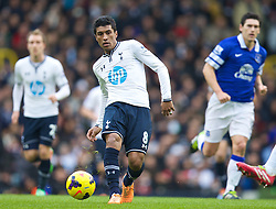 LONDON, ENGLAND - Sunday, February 9, 2014: Tottenham Hotspur's Paulinho in action against Everton during the Premiership match at White Hart Lane. (Pic by David Rawcliffe/Propaganda)