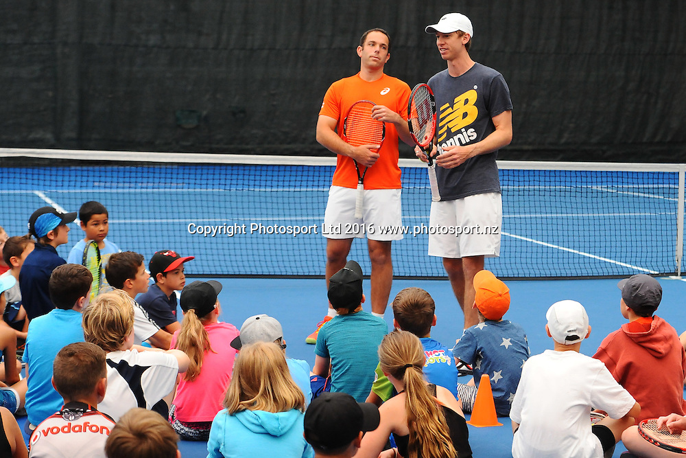 "L-R Scott Lipski and Eric Butorac during ""KIDS Day"" at the 2016 ASB Classic Mens. ASB Tennis Centre, Auckland, New Zealand. Monday 11 January 2016. Copyright Photo: Chris Symes / www.photosport.nz"