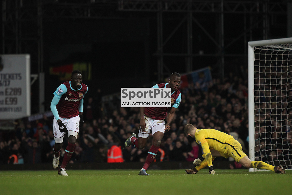 Enner Valencia of West Ham United celebrates his goal during the Barclays Premier League game against Manchester City. (c) Joshua Smith | SportPix.org.uk
