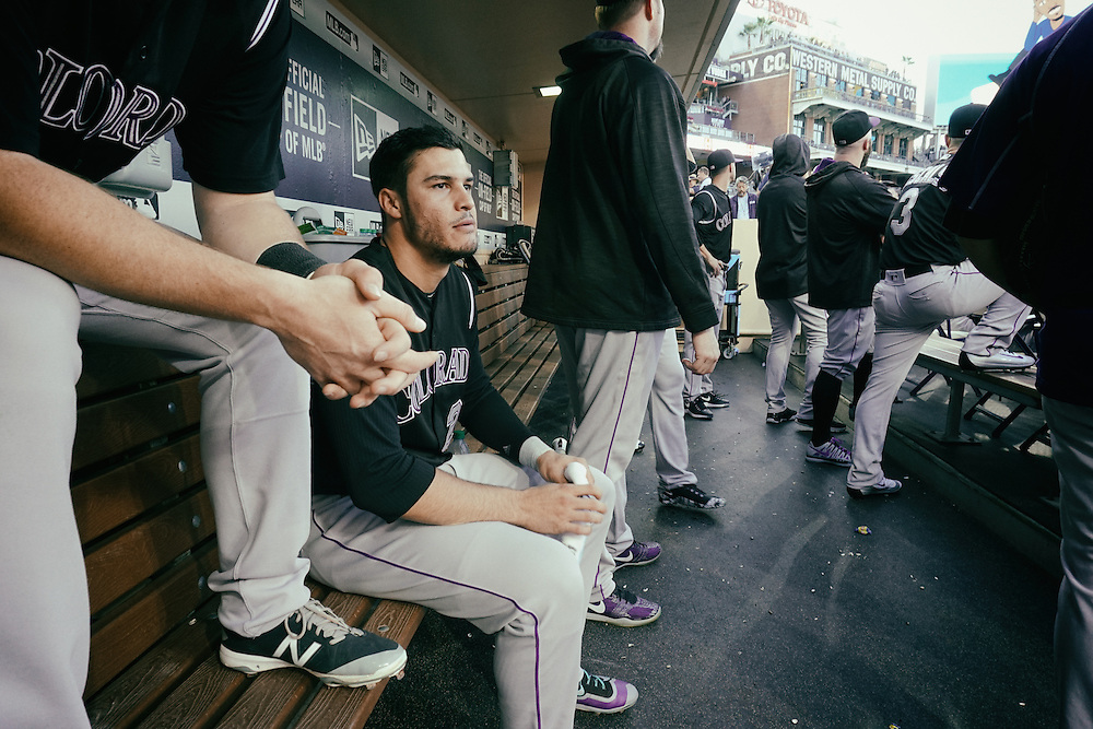 San Diego, CA - JUNE 04:   Nolan Arenado in the dug out before the start of game against the Padres at Petco Park during game with the San Diego Padres San Diego, California.  (Sandy Huffaker for ESPN)