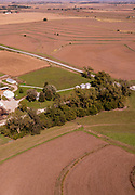 Aerial photograph of rural farmland in Mills County, Iowa, USA.