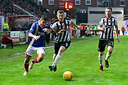Lee Holmes (10) of Exeter City battles for possession with Paul Dixon (3) of Grimsby Town while on the attack during the EFL Sky Bet League 2 match between Exeter City and Grimsby Town FC at St James' Park, Exeter, England on 11 November 2017. Photo by Graham Hunt.