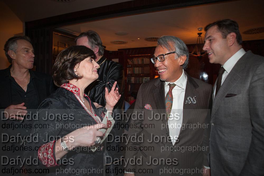 TONY BLAIR;  CHERIE BLAIR; SIR DAVID TANG; DAVID WALLIAMS, Chinese New Year dinner given by Sir David Tang. China Tang. Park Lane. London. 4 February 2013.