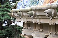 Ornamental lions line the balcony within Park Guell in Barcelona, Spain.