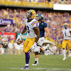 Aug 31, 2019; Baton Rouge, LA, USA; LSU Tigers linebacker Patrick Queen (8) celebrates after a turnover during the first quarter against the Georgia Southern Eagles at Tiger Stadium. Mandatory Credit: Derick E. Hingle-USA TODAY Sports