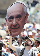 May 21, 2014 - Vatican City State (Holy See) - <br /> <br /> A man with a giant face poster of Pope Francis during  the wednesday general audience in St. Peter's Square at the Vatican.<br /> ©Exclusivepix