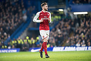 Arsenal (21) Calum Chambers  during the EFL Cup semi final first leg match between Chelsea and Arsenal at Stamford Bridge, London, England on 10 January 2018. Photo by Sebastian Frej.