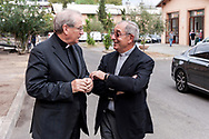ROME, ITALY - SEPTEMBER 01: The director of Caritas Rome, Msgr. Enrico Feroci,  New vicar of Rome, Angelo De Donatis, during visit the Citadel of the Charity of the Diocesan Caritas of Rome on September 1, 2017 in Rome, Italy. Italian PM Paolo Gentiloni visited the Caritas to express the gratitude of all Italians to the world of volunteering, to those who work in favour of solidarity.