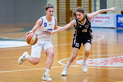 Eva Prevodnik of ZKK Triglav Kranj and Neza Dvorsak of ZKK Maribor during basketball match between ZKK Triglav Kranj and ZKD Maribor in Round #1 of 1. Slovenian Woman basketball league, on February 20, 2018 in ŠD Planina, Kranj, Slovenia. Photo by Ziga Zupan / Sportida