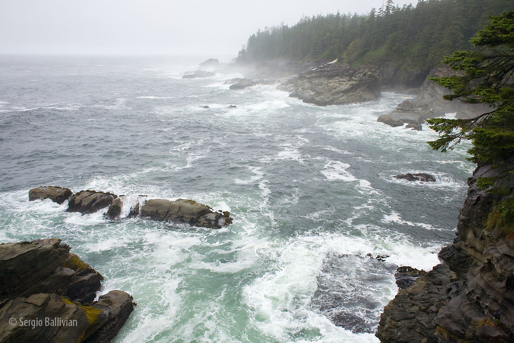 West Coast Trail - Day 2. The rugged coast of western Vancouver Island during a storm, as seen from a cliff.
