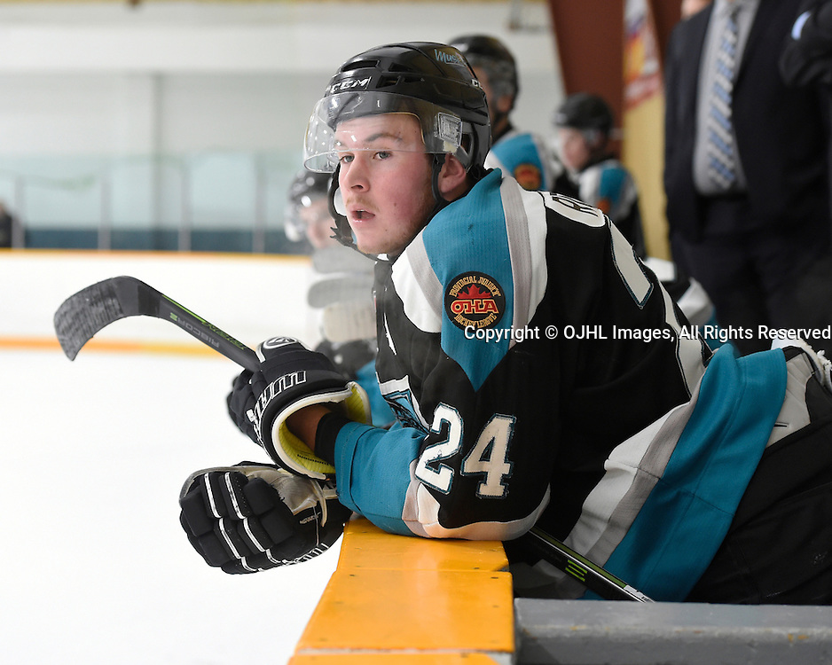 TRENTON, ON - JAN 24,  2017: Ontario Junior Hockey League game between Lindsay and Pickering at the 2017 Winter Showcase , Cameron Robinson #24 of the Lindsay Muskies during the first period.<br /> (Photo by Andy Corneau / OJHL Images)