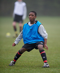 CARDIFF, WALES - Thursday, March 15, 2012: Wales U16's Nyasha Mwamuka (Shrewsbury Town FC & Ysgol Uwchraddllanfair Caerinion) during a training session at the Glamorgan Sports Park. (Pic by David Rawcliffe/Propaganda)