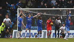 Jonathan Bond of Peterborough United keeps out an effort from Josh Parker of Gillingham as the Gillingham players protest the ball had crossed the line - Mandatory by-line: Joe Dent/JMP - 10/02/2018 - FOOTBALL - MEMS Priestfield Stadium - Gillingham, England - Gillingham v Peterborough United - Sky Bet League One