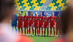 LARNACA, CYPRUS - Wednesday, March 7, 2018: Wales players before the Cyprus Women's Cup match between Austria and Wales on day nine of the Cyprus Cup tournament at the AEK Arena - Georgios Karapatakis. L-R: Loren Dykes, Alice Griffiths, Gwennan Davies, Charlie Estcourt, Melissa Fletcher, Kylie Nolan, Helen Ward. (Pic by David Rawcliffe/Propaganda)