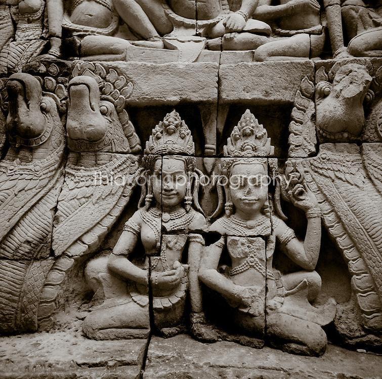 Stone carving detail of Apsala dancers at Angkor Wat, Cambodia