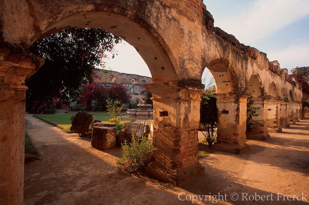 GUATEMALA, ANTIGUA arches of 16thC Santa Clara Cloister