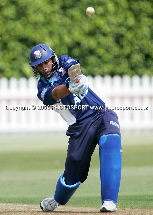 Auckland Aces batsman Andre Adams hits a six during the State Shield semi final between the State Wellington Firebirds and the State Auckland Aces held at the Basin Reserve in Wellington, New Zealand on Tuesday, 6 February, 2007. Photo: Tim Hales/PHOTOSPORT